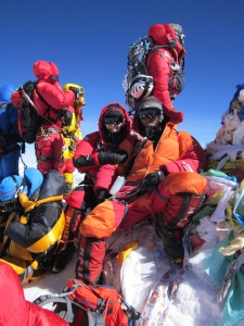 Liudmila and Pasang Wongchu Sherpa on the Summit of Everest May, 19, 2012