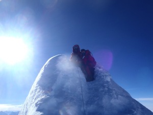 On the summit of Manaslu, the 8th highest mountain in the world at 26781 ft.