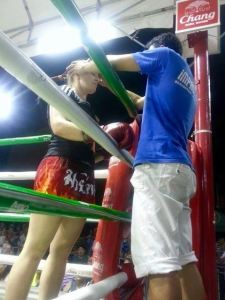 Before pro Muay Thai fight in Chiang Mai, Thailand.