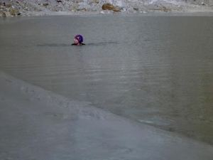 Swimming in Lake Pumori near Everest at about 17000 ft in December 2012.